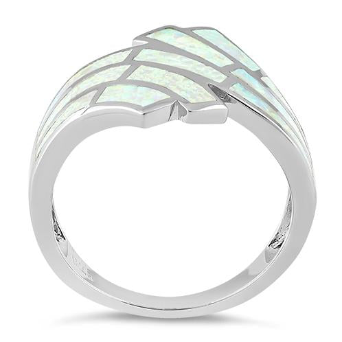 Sterling Silver Crooked White Lab Opal Ring