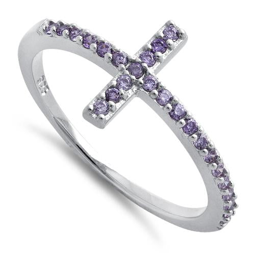 Sterling Silver Cross Amethyst CZ Ring