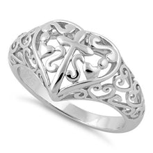Load image into Gallery viewer, Sterling Silver Cross and Multiple Hearts Ring