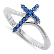 Load image into Gallery viewer, Sterling Silver Cross Blue CZ Ring