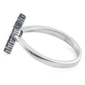 Sterling Silver Cross Blue CZ Ring