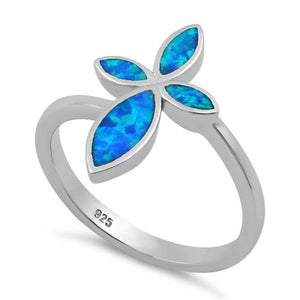 Sterling Silver Cross Blue Lab Opal Ring
