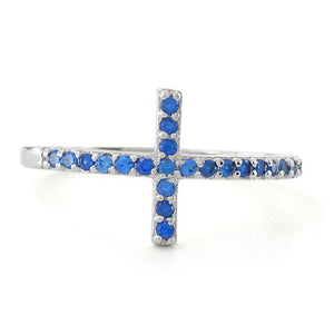 Sterling Silver Cross Blue Sapphire CZ Ring