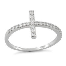 Load image into Gallery viewer, Sterling Silver Cross Clear CZ Ring