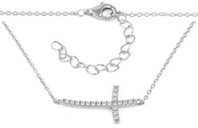 Load image into Gallery viewer, Sterling Silver Cross CZ Necklace