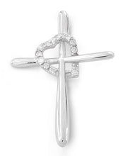 Load image into Gallery viewer, Sterling Silver Cross Heart CZ Pendant