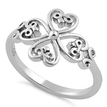 Load image into Gallery viewer, Sterling Silver Cross Heart Fleur-de-lis Ring