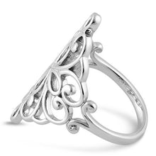 Load image into Gallery viewer, Sterling Silver Cross Heart Swirl Ring