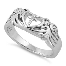 Load image into Gallery viewer, Sterling Silver Cross Heart Wings Ring