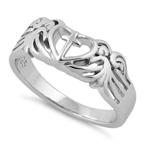 Sterling Silver Cross Heart Wings Ring