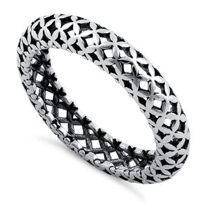 Sterling Silver Cross Pattern Eternity Ring