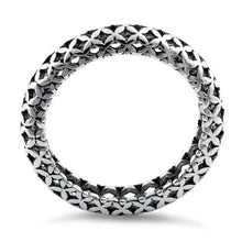 Load image into Gallery viewer, Sterling Silver Cross Pattern Eternity Ring