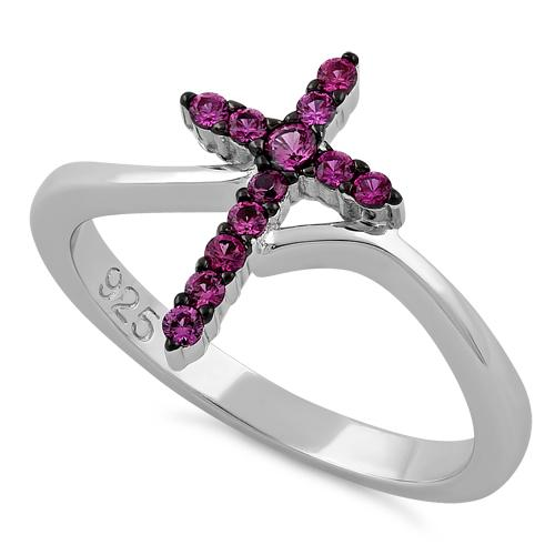 Sterling Silver Cross Pink CZ Ring