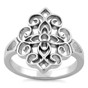 Sterling Silver Cross Vines Ring