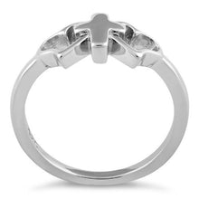 Load image into Gallery viewer, Sterling Silver Cross with 2 Hearts Ring