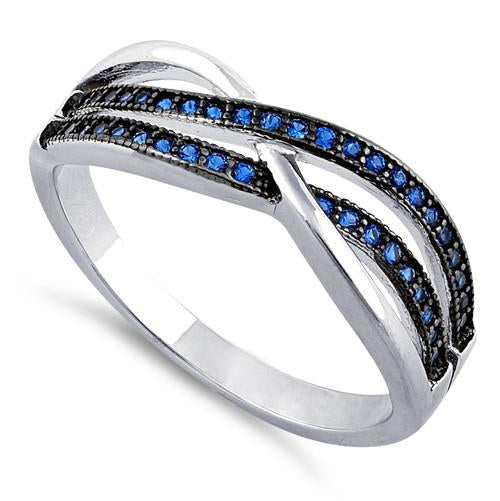 Sterling Silver Crossing Waves Blue CZ Ring
