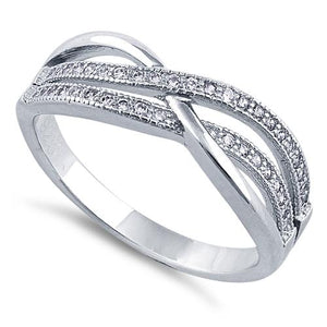 Sterling Silver Crossing Waves Clear CZ Ring