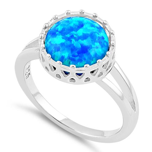 Sterling Silver Crown Blue Lab Opal Ring