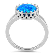 Load image into Gallery viewer, Sterling Silver Crown Blue Lab Opal Ring