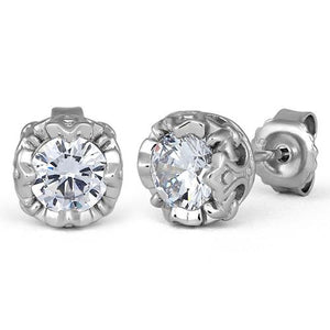Sterling Silver Crown Clear CZ Stud Earrings