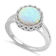 Load image into Gallery viewer, Sterling Silver Crown White Lab Opal Ring
