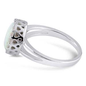 Sterling Silver Crown White Lab Opal Ring