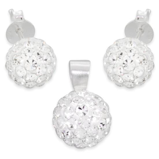 Sterling Silver Crystal Ball CZ Set