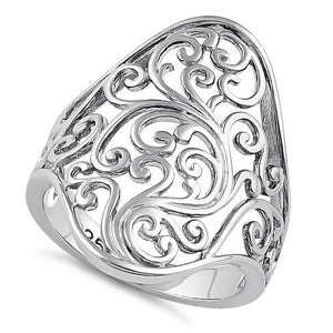 Sterling Silver Curly Floral Ring