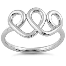 Load image into Gallery viewer, Sterling Silver Curly Hearts Ring