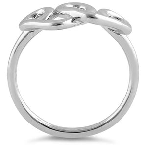 Sterling Silver Curly Hearts Ring