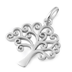 Sterling Silver Curly Hearts Tree of Life Pendant