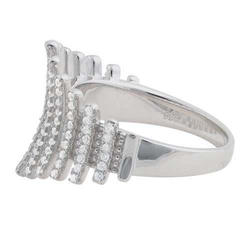Sterling Silver Curve Lines CZ Ring