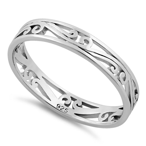 Sterling Silver Curve Lines Ring