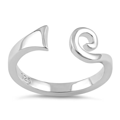 Sterling Silver Swirl Bar Line Ring
