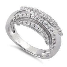 Load image into Gallery viewer, Sterling Silver Curves Reflection Round Clear CZ Ring