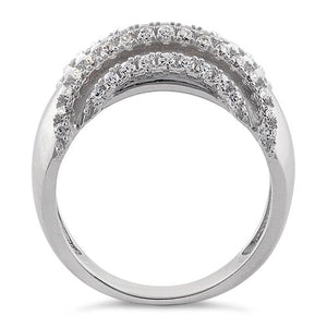 Sterling Silver Curves Reflection Round Clear CZ Ring