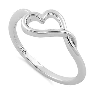 Sterling Silver Curvy Heart Ring