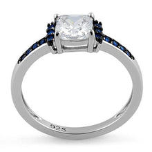 Load image into Gallery viewer, Sterling Silver Cushion Blue Spinel Clear CZ Ring