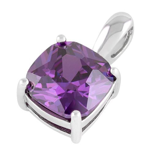 Sterling Silver Cushion Cut Amethyst CZ Pendant