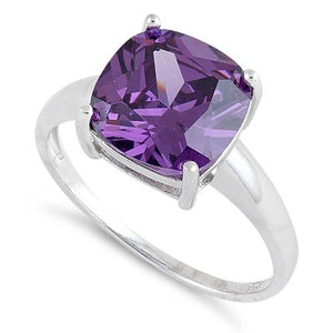 Sterling Silver Cushion Cut Amethyst CZ Ring