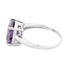 Load image into Gallery viewer, Sterling Silver Cushion Cut Amethyst CZ Ring