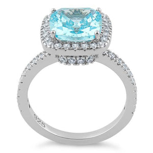 Sterling Silver Cushion Cut Aqua Blue CZ Ring