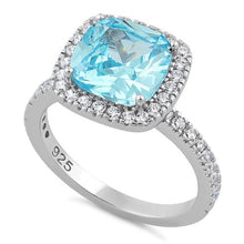 Load image into Gallery viewer, Sterling Silver Cushion Cut Aqua Blue CZ Ring