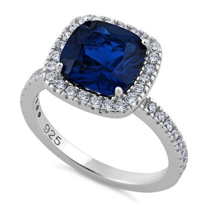Sterling Silver Cushion Cut Blue Spinel CZ Ring