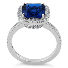 Load image into Gallery viewer, Sterling Silver Cushion Cut Blue Spinel CZ Ring