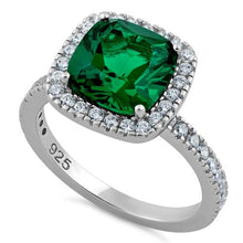 Load image into Gallery viewer, Sterling Silver Cushion Cut Emerald CZ Ring