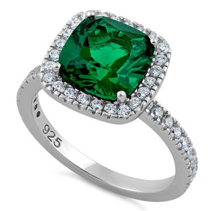 Sterling Silver Cushion Cut Emerald CZ Ring