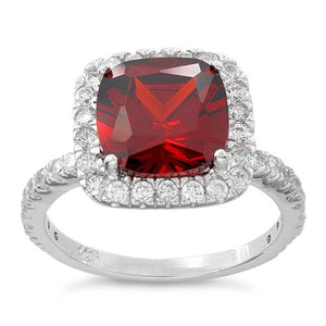 Sterling Silver Cushion Cut Garnet CZ Ring