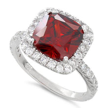 Load image into Gallery viewer, Sterling Silver Cushion Cut Garnet CZ Ring