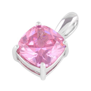 Sterling Silver Cushion Cut Pink CZ Pendant